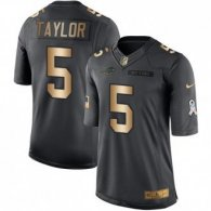 Nike Bills -5 Tyrod Taylor Black Stitched NFL Limited Gold Salute To Service Jersey