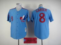 Autographed MLB Montreal Expos -8 Gary Carter Blue Stitched Jersey