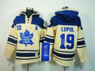 Autographed Toronto Maple Leafs -19 Joffrey Lupul Cream Sawyer Hooded Sweatshirt Stitched NHL jersey