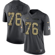 Seattle Seahawks -76 Germain Ifedi Nike Anthracite 2016 Salute to Service Jersey