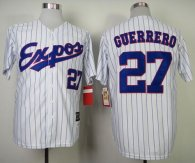 Mitchell and Ness 2000 Expos -27 Vladimir Guerrero White Blue Strip Stitched Throwback MLB Jersey