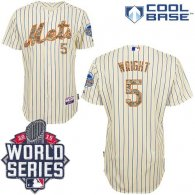 New York Mets -5 David Wright Cream(Blue Strip USMC Cool Base W 2015 World Series Patch Stitched MLB