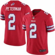 Nike Bills -2 Nathan Peterman Red Stitched NFL Limited Rush Jersey