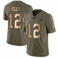 Nike Bills -12 Jim Kelly Olive Gold Stitched NFL Limited 2017 Salute To Service Jersey