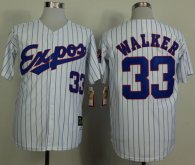Mitchell And Ness 1982 Expos -33 Larry Walker White Black Strip  Throwback Stitched MLB Jersey