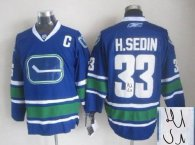 Autographed Vancouver Canucks -33 Henrik Sedin Stitched Blue Third NHL Jersey