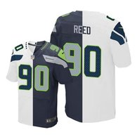 Nike Seahawks -90 Jarran Reed White Steel Blue Stitched NFL Elite Split Jersey