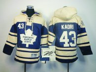 Autographed Toronto Maple Leafs -43 Nazem Kadri Blue Sawyer Hooded Sweatshirt NHL Stitched Jersey