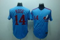 Mitchell and Ness Expos -14 Pete Rose Blue Stitched Throwback MLB Jersey
