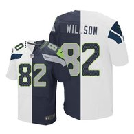 Nike Seahawks -82 Luke Willson White Steel Blue Stitched NFL Elite Split Jersey