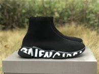 Authentic Balenciaga Speed Trainer Knit/Graffiti Sole Black/White