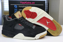 Authentic Levi's x Air Jordan 4 black
