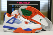 Authentic Air Jordan 4 White/Royal/Orange