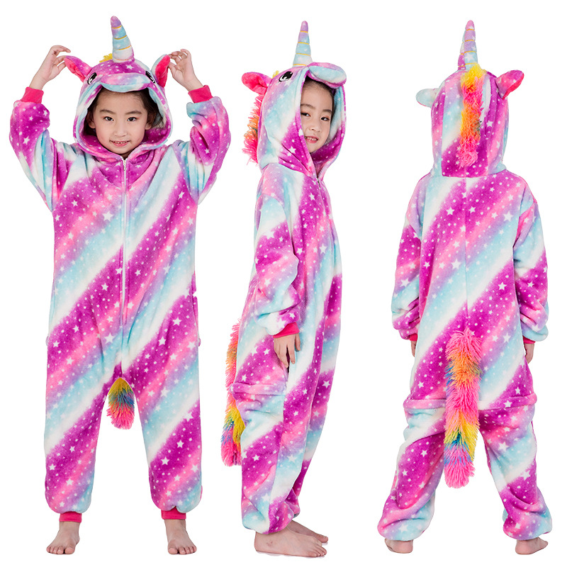 11f77bb18 Kids 3 Color Stars Stripes Unicorn Onesie Kigurumi Pajamas Kids Animal  Costumes for Unisex Children