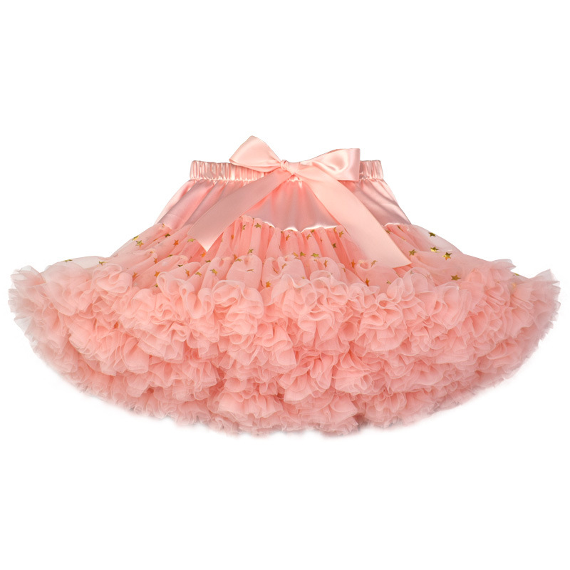 33db9d15e1 Toddler Girl Pink Tutu Tulle Gold Stars Skirt Princess Fluffy Soft Chiffon  Pettiskirt