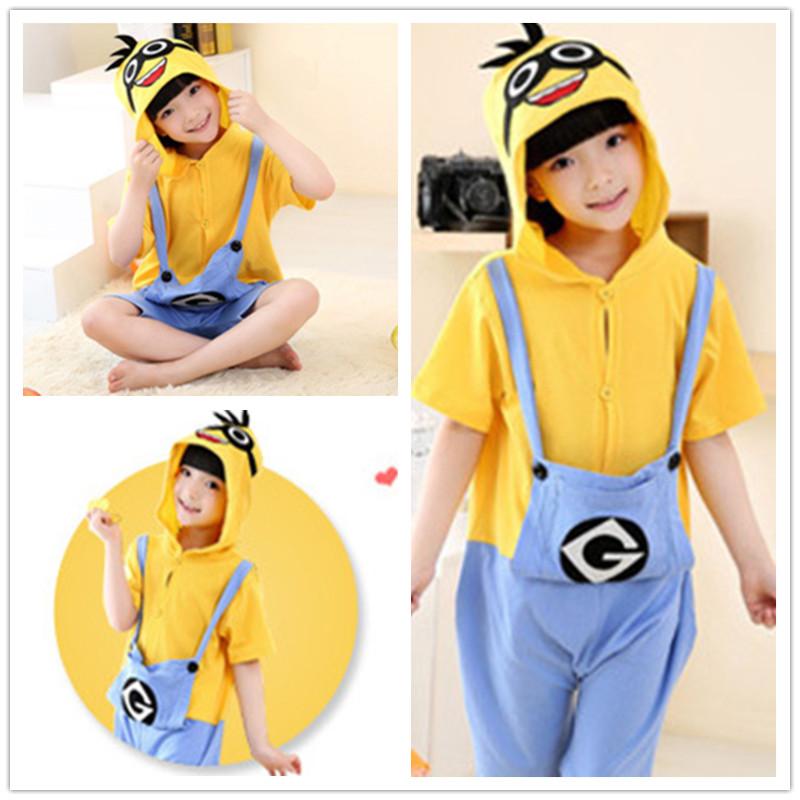 d6253989083fcd Kids Yellow Minions Summer Short Onesie Kigurumi Pajamas for Unisex Children