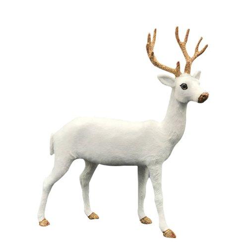 Christmas Reindeer.2019 Christmas Ornament White 38cm Simulated Plush Fake Furry Deer Christmas Reindeer