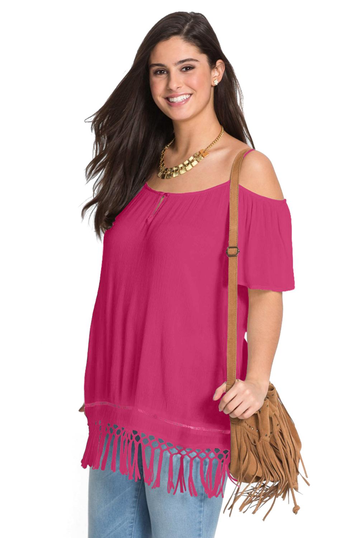 6e63f8b10 US  23.82 - Rose Cold Shoulder Plus Size Blouse Top - www.sumqi.com
