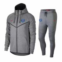 18-19 PSG Paris Grey Hoody Zipper Jacket Tracksuit