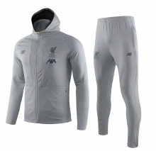 2019/20  Liverpool Grey Hoody Zipper Jacket Tracksuit