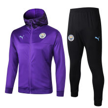 2019/20 Man City Purple Hoody Zipper Jacket Tracksuit