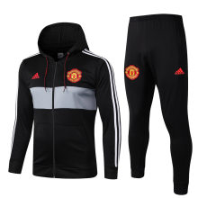 2019/20 Man Utd Black Hoody Zipper Jacket Tracksuit