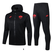2019/20  AS Roma Black Hoodie Jacket Tracksuit