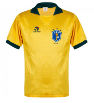 1988 Brazil Home Yellow Retro Soccer Jersey