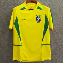 2002 Brazil Home Yellow Retro Soccer Jersey