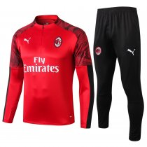 2019/20 AC Milan Red Half Pull Sweater Tracksuit
