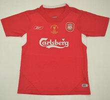 2005 Liverpool Red Champions Retro Soccer Jersey