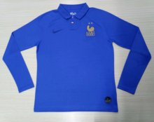 2019 Frence Blue 100th Anniversary Long Sleeve Soccer Jersey