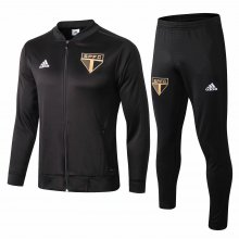 2019 Sao Paul Black Jacket Tracksuit Full Sets