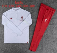 2018/19 Liverpool White Half pull Kids Sweater Tracksuit