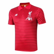 2019/20 Liverpool Red Stripe Polo Short Jersey