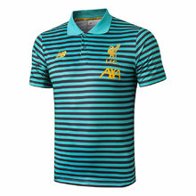 2019/20 Liverpool Green Stripe Polo Short Jersey