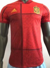 2020 Euro Spain Home Player Version Soccer Jersey