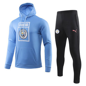19/20 Man City Blue Hoodie Training Tracksuit Full Sets