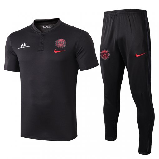 2019/20 PSG Paris Black Polo Tracksuit Suit