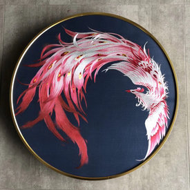 Home Gift Fire Phoenix Single-sided Embroidered Circular Hangings Wall Art Xiang Embroidered