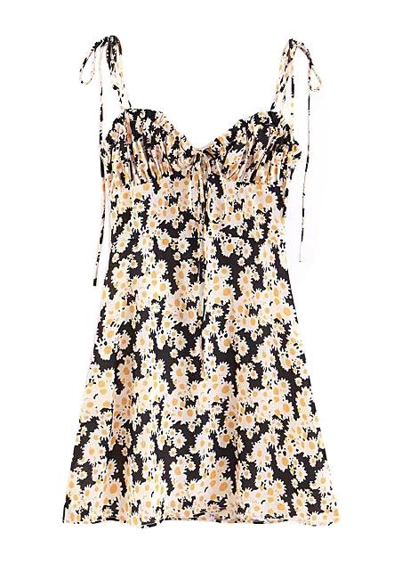 8d64fcc5a30 Self-Tie Strap Floral Dress