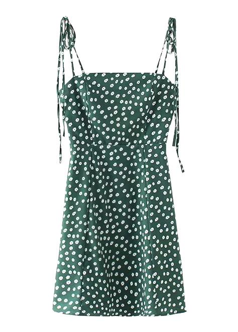 311b959c965 Self-Tie Strap Floral Dress in Green