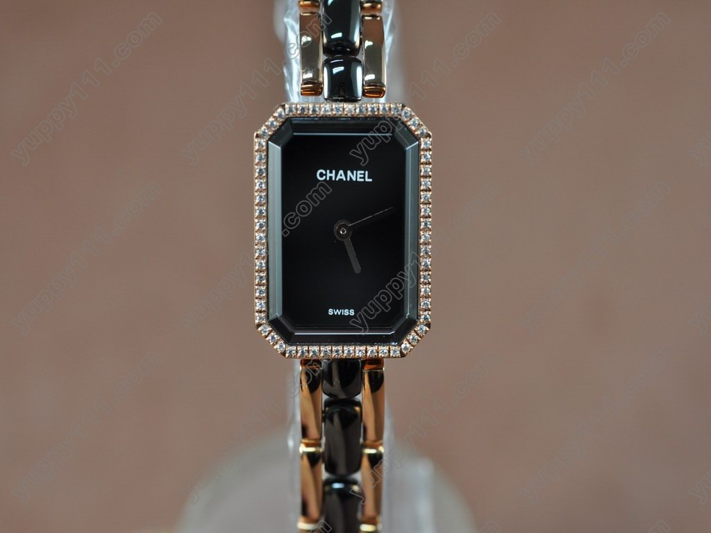 シャネルChanel Ladies Premiere Black RG/Ceramic/Diamonds Jap Qtz/Boxクオーツ