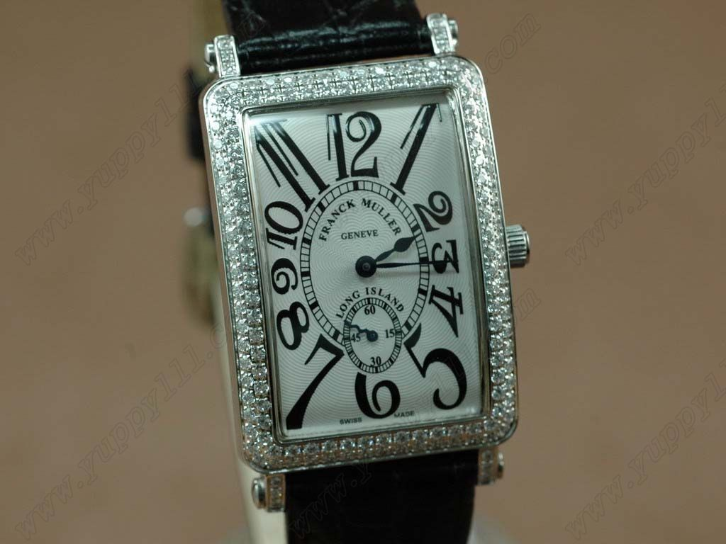 フランクミュラーFranck Muller Watches Mid Size Long Island Diamond SS White Swiss Quartz腕時計