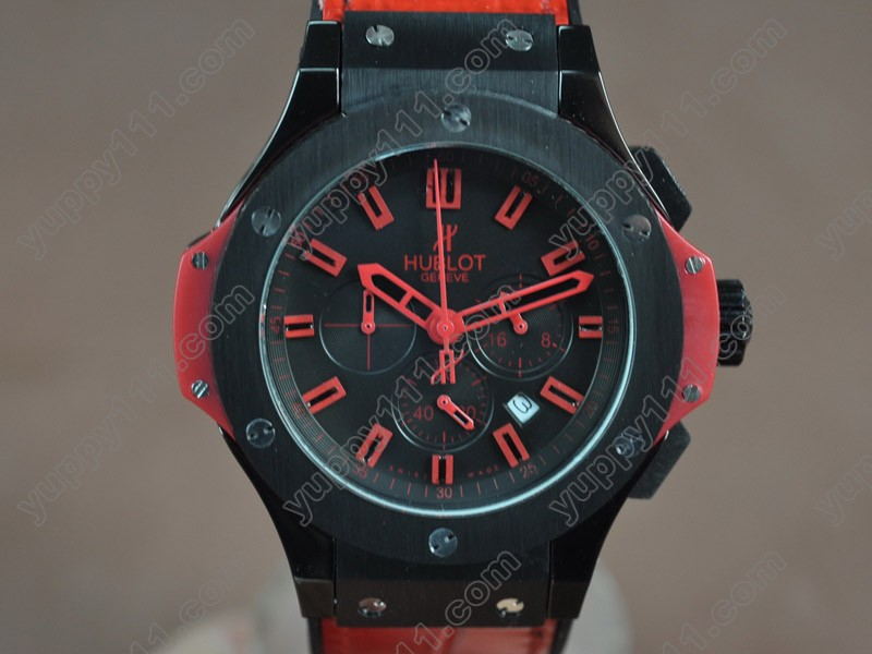 ウブロHublot Big Bang 44mm PVD/LE Black Japanese 0S20 Quartz Chronoクオーツストップウォッチ