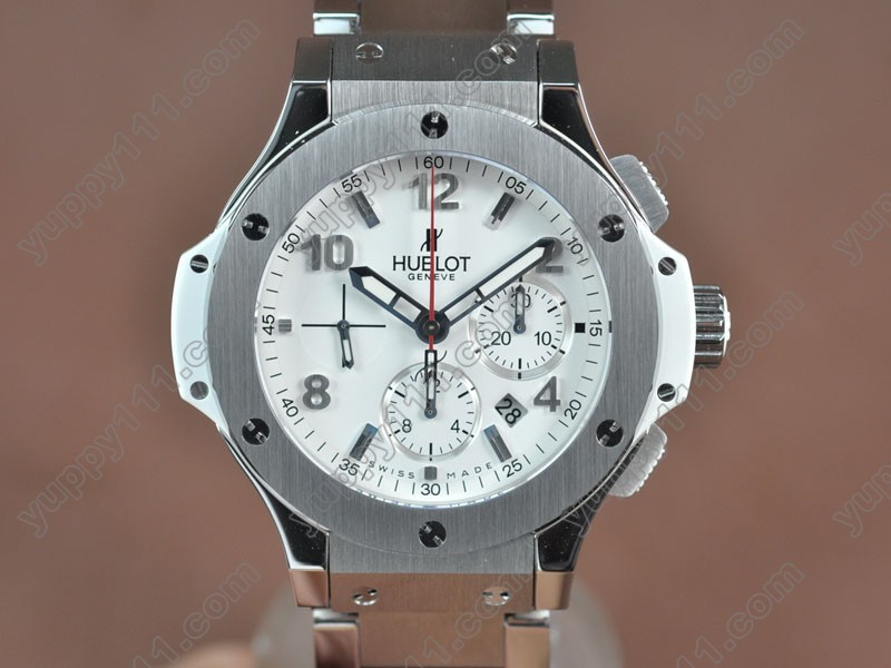 ウブロHublot Big Bang SS/SS/Ceramic White dial Asia 7750自動巻き