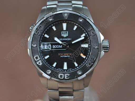 タグホイヤーTag Heuer Aquaracer 500m SS/SS Black Asian Auto 21J自動巻き