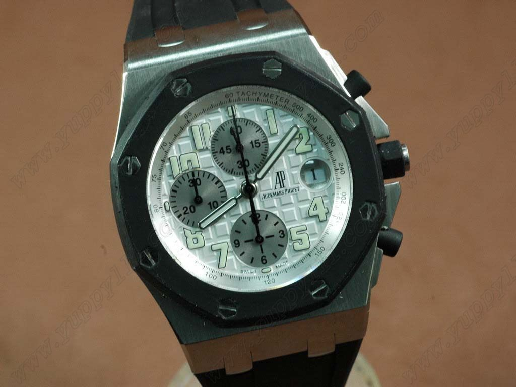 オーデマ・ピゲAudemars Piguet Royal Oak Chronograph SS/RU White A-7750 Sec@12自動巻き