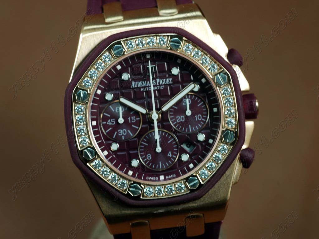 オーデマ・ピゲAudemars Piguet Watches Royal Oak Chrono RG/RU Diamond Bez Purple 7750自動巻き