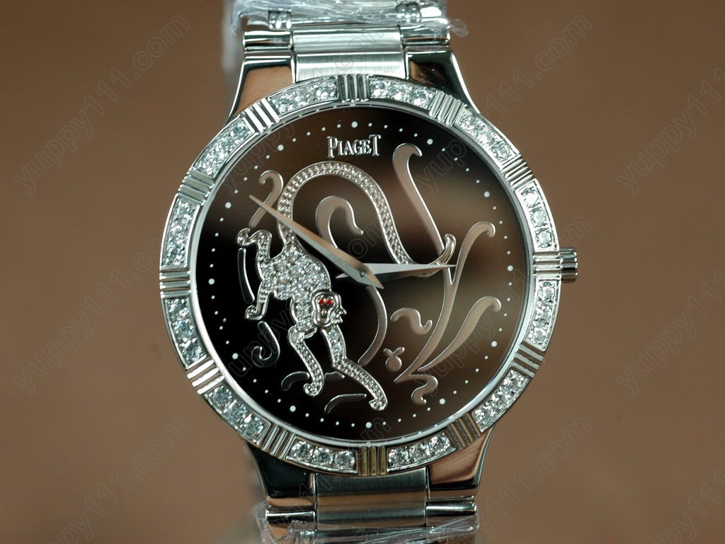 ピアジェ Piaget Watches Sculpture Totem SS Case Diamond Black Dial Swiss Quartz Movement